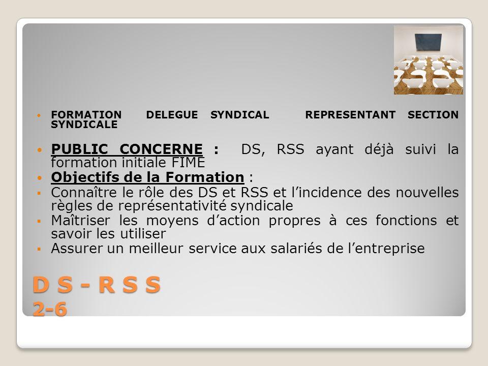 D S - R S S 2-6 FORMATION DELEGUE SYNDICAL REPRESENTANT SECTION SYNDICALE PUBLIC CONCERNE : DS, RSS ayant déjà suivi la formation initiale FIME Object