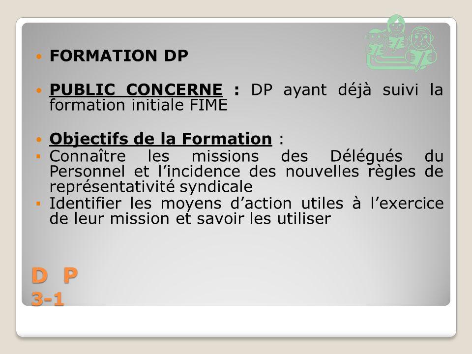 D P 3-1 FORMATION DP PUBLIC CONCERNE : DP ayant déjà suivi la formation initiale FIME Objectifs de la Formation : Connaître les missions des Délégués