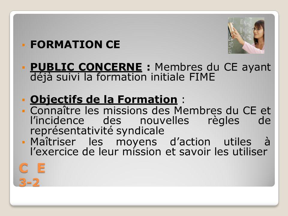 C E 3-2 FORMATION CE PUBLIC CONCERNE : Membres du CE ayant déjà suivi la formation initiale FIME Objectifs de la Formation : Connaître les missions de