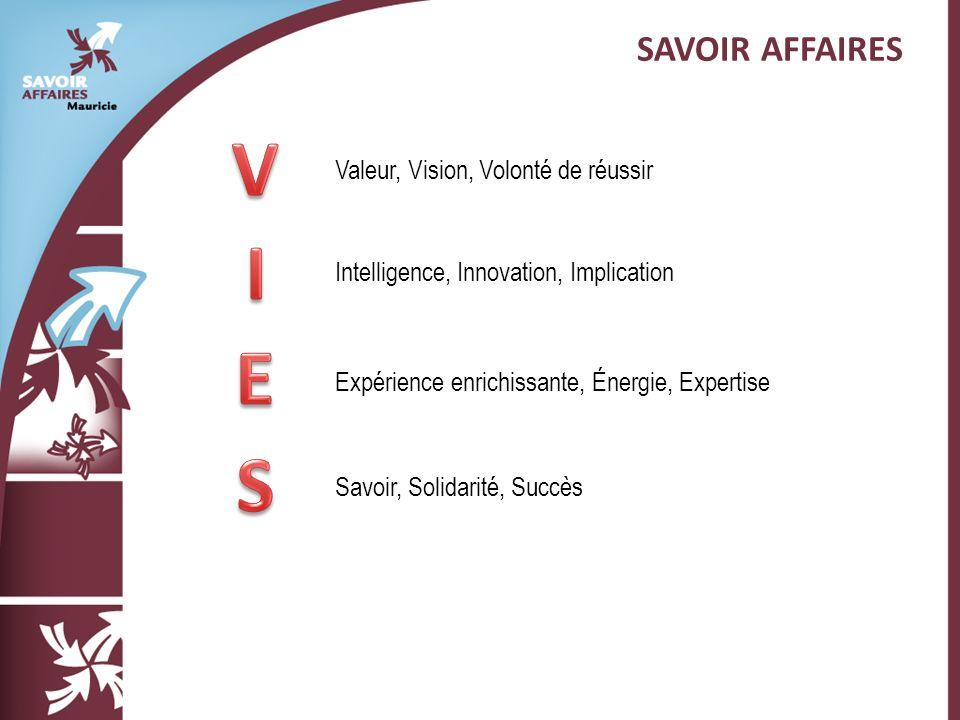 SAVOIR AFFAIRES Valeur, Vision, Volonté de réussir Intelligence, Innovation, Implication Expérience enrichissante, Énergie, Expertise Savoir, Solidarité, Succès