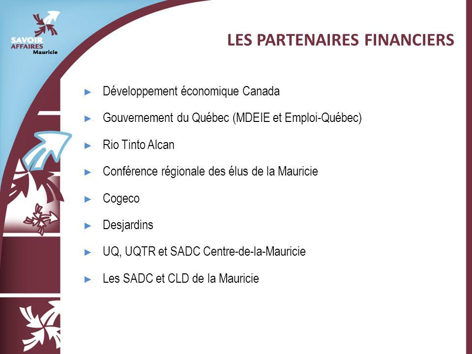 Développement économique Canada Gouvernement du Québec (MDEIE et Emploi-Québec) Rio Tinto Alcan Conférence régionale des élus de la Mauricie Cogeco Desjardins UQ, UQTR et SADC Centre-de-la-Mauricie Les SADC et CLD de la Mauricie LES PARTENAIRES FINANCIERS