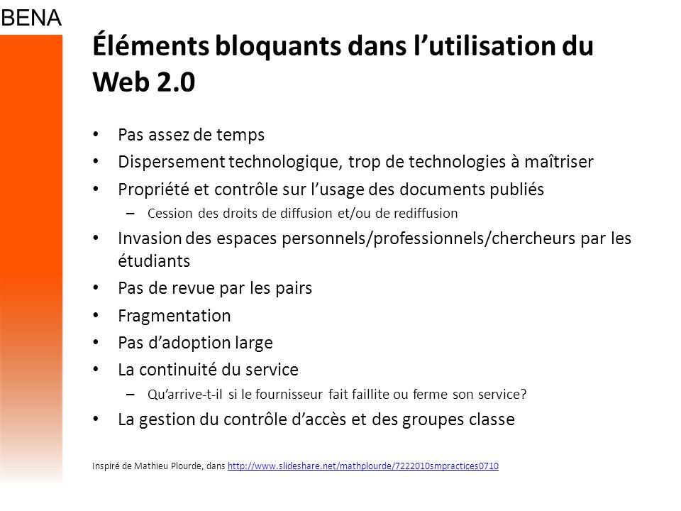 Éléments bloquants dans lutilisation du Web 2.0 Pas assez de temps Dispersement technologique, trop de technologies à maîtriser Propriété et contrôle