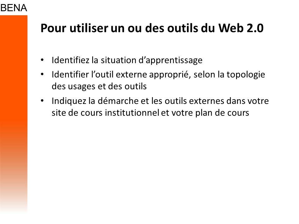 Pour utiliser un ou des outils du Web 2.0 Identifiez la situation dapprentissage Identifier loutil externe approprié, selon la topologie des usages et