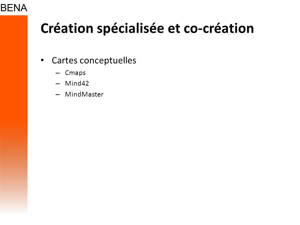 Création spécialisée et co-création Cartes conceptuelles – Cmaps – Mind42 – MindMaster