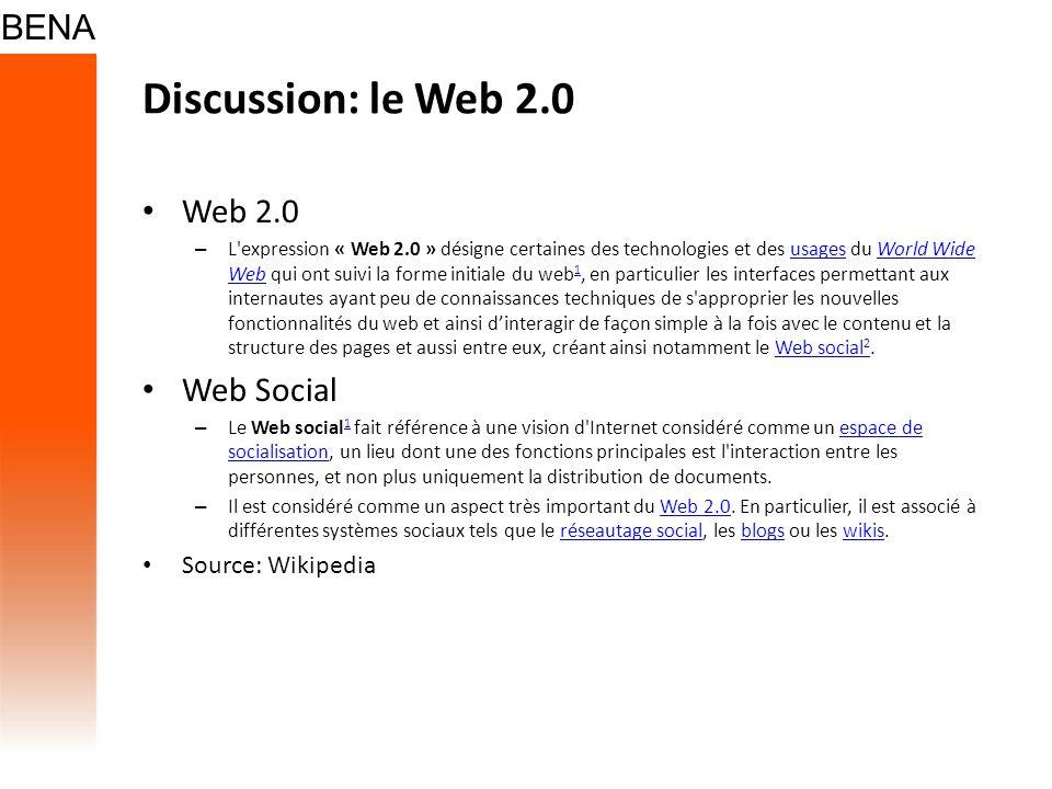 Discussion: le Web 2.0 Web 2.0 – L'expression « Web 2.0 » désigne certaines des technologies et des usages du World Wide Web qui ont suivi la forme in