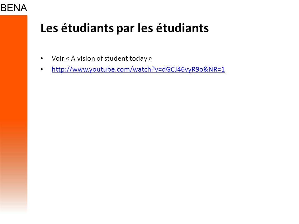 Les étudiants par les étudiants Voir « A vision of student today » http://www.youtube.com/watch?v=dGCJ46vyR9o&NR=1