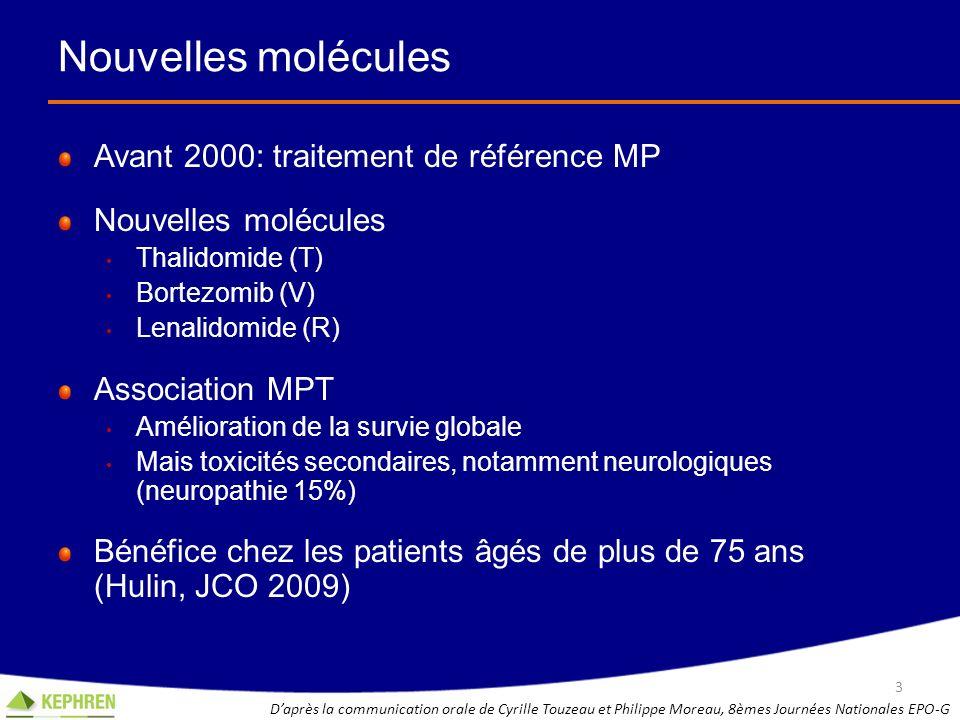 Nouvelles molécules Avant 2000: traitement de référence MP Nouvelles molécules Thalidomide (T) Bortezomib (V) Lenalidomide (R) Association MPT Amélior