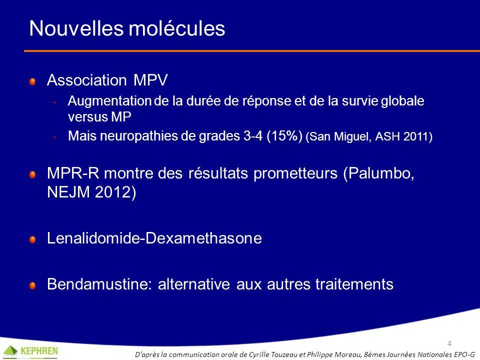 Nouvelles molécules Association MPV Augmentation de la durée de réponse et de la survie globale versus MP Mais neuropathies de grades 3-4 (15%) (San M