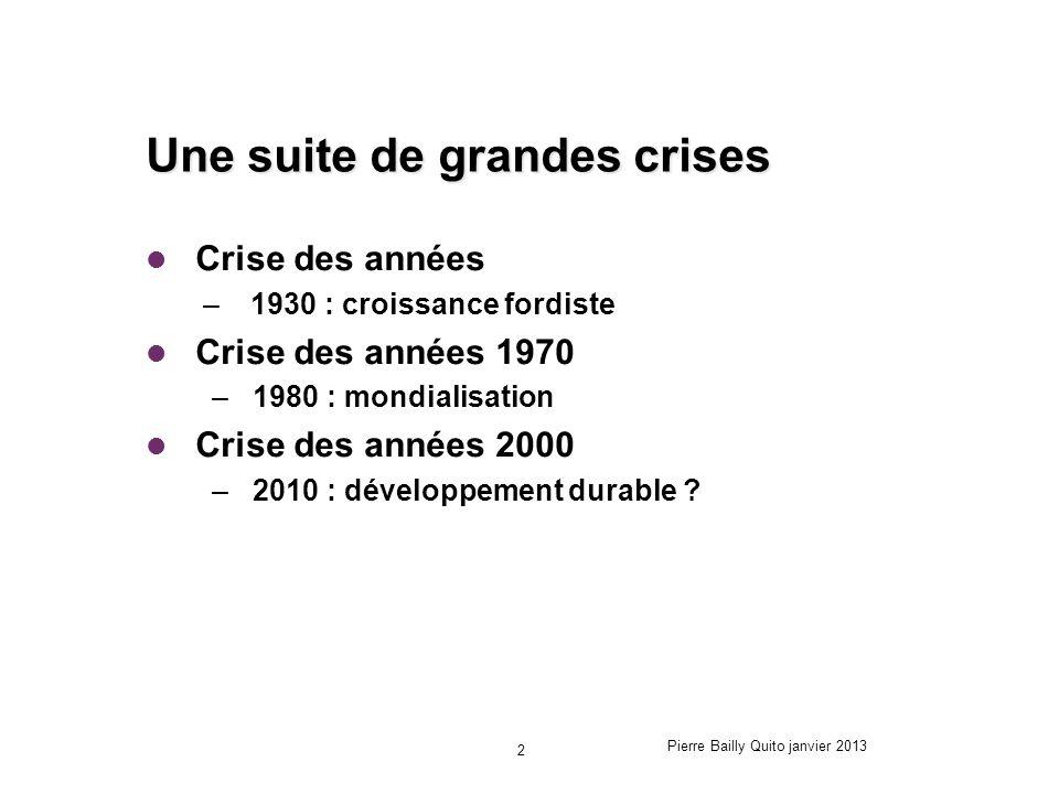 Une suite de grandes crises Crise des années – 1930 : croissance fordiste Crise des années 1970 –1980 : mondialisation Crise des années 2000 –2010 : d