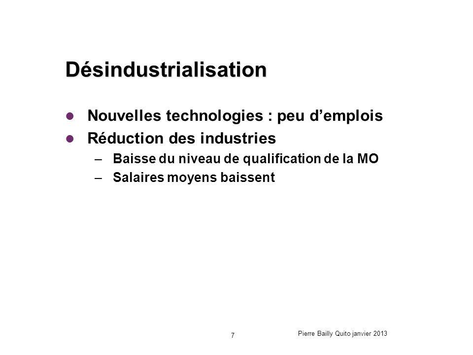 Désindustrialisation Nouvelles technologies : peu demplois Réduction des industries –Baisse du niveau de qualification de la MO –Salaires moyens baiss