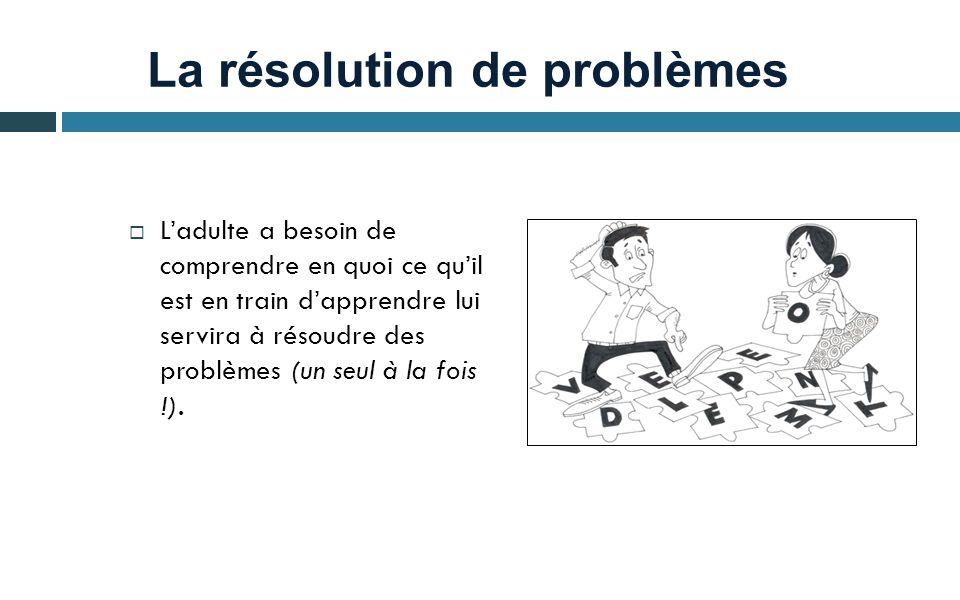 La résolution de problèmes Ladulte a besoin de comprendre en quoi ce quil est en train dapprendre lui servira à résoudre des problèmes (un seul à la f