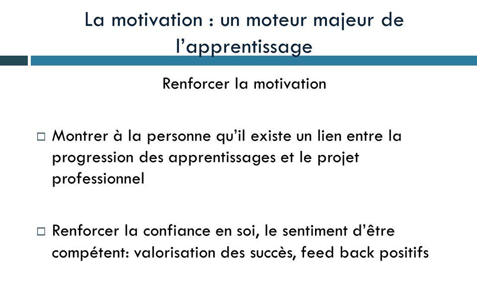La motivation : un moteur majeur de lapprentissage Renforcer la motivation Montrer à la personne quil existe un lien entre la progression des apprenti