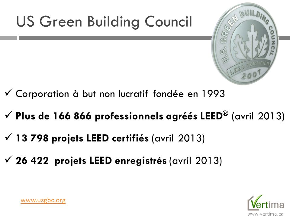 www.vertima.ca Avril 2013 24 projets certifiés 162 projets enregistrés