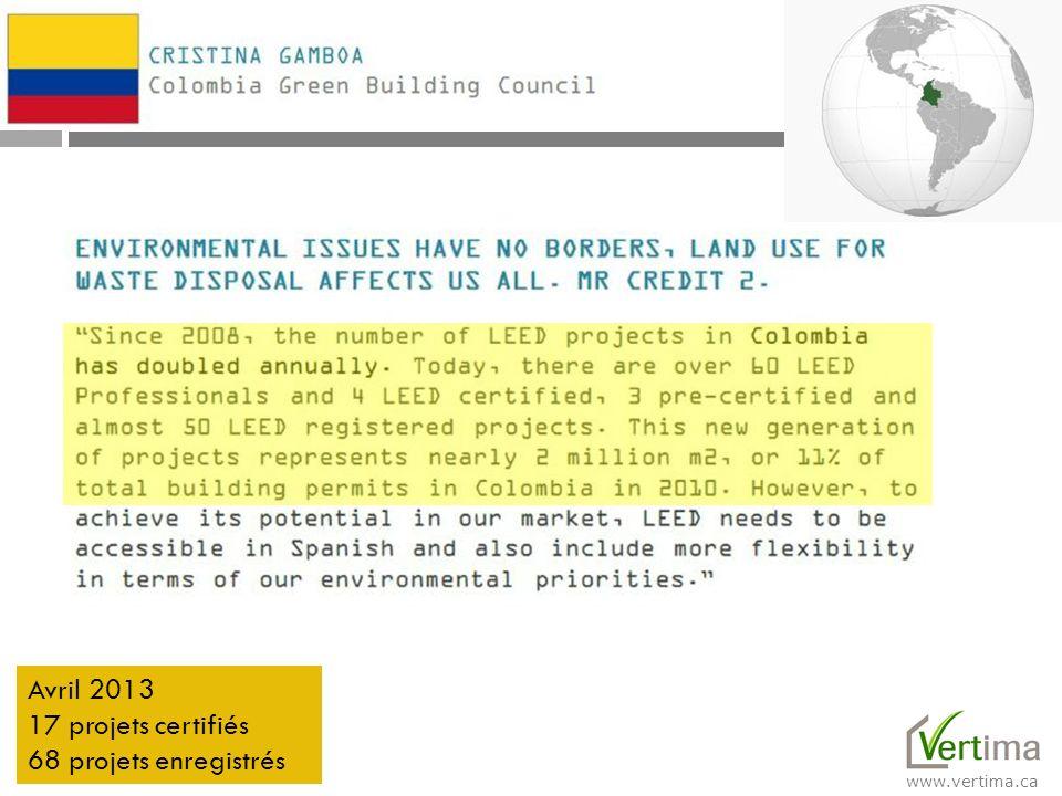 www.vertima.ca Avril 2013 17 projets certifiés 68 projets enregistrés