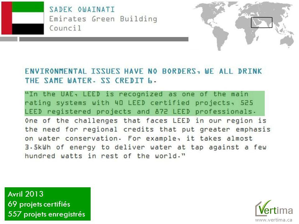 Avril 2013 69 projets certifiés 557 projets enregistrés