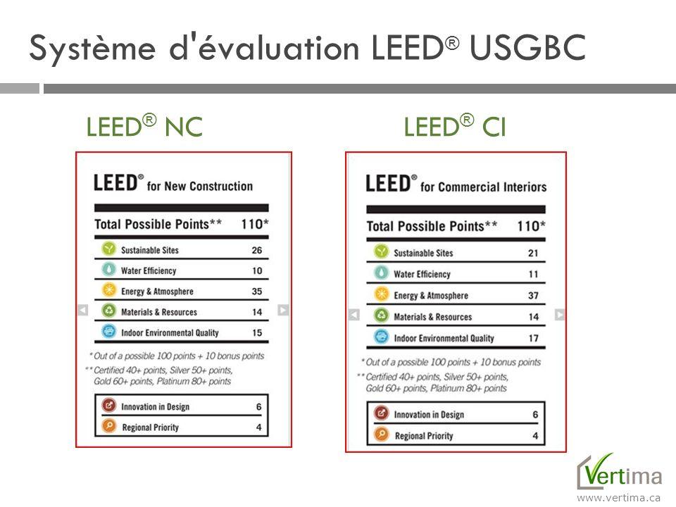 www.vertima.ca LEED ® NC LEED ® CI Système d'évaluation LEED ® USGBC