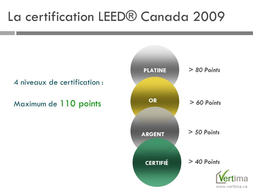 www.vertima.ca Green Building Certification Institute Le Green Building Certification Institute (GBCI), fondé en janvier 2008, gère la certification par les tierces parties et les justificatifs d identité des professionnels du développement durable.