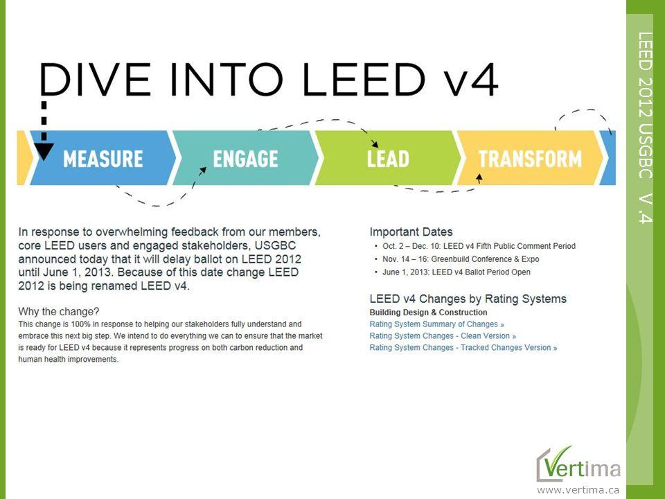 www.vertima.ca LEED 2012 USGBC V.4