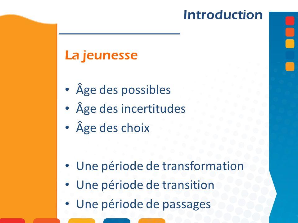 La jeunesse Introduction Âge des possibles Âge des incertitudes Âge des choix Une période de transformation Une période de transition Une période de passages