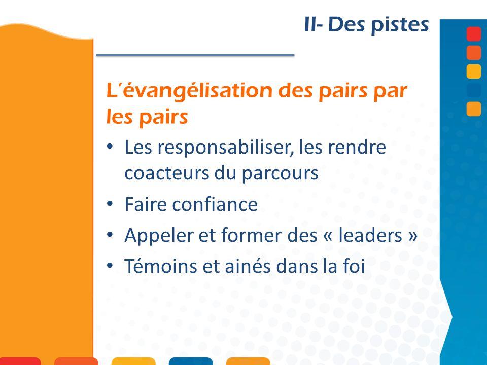 Lévangélisation des pairs par les pairs II- Des pistes Les responsabiliser, les rendre coacteurs du parcours Faire confiance Appeler et former des « leaders » Témoins et ainés dans la foi