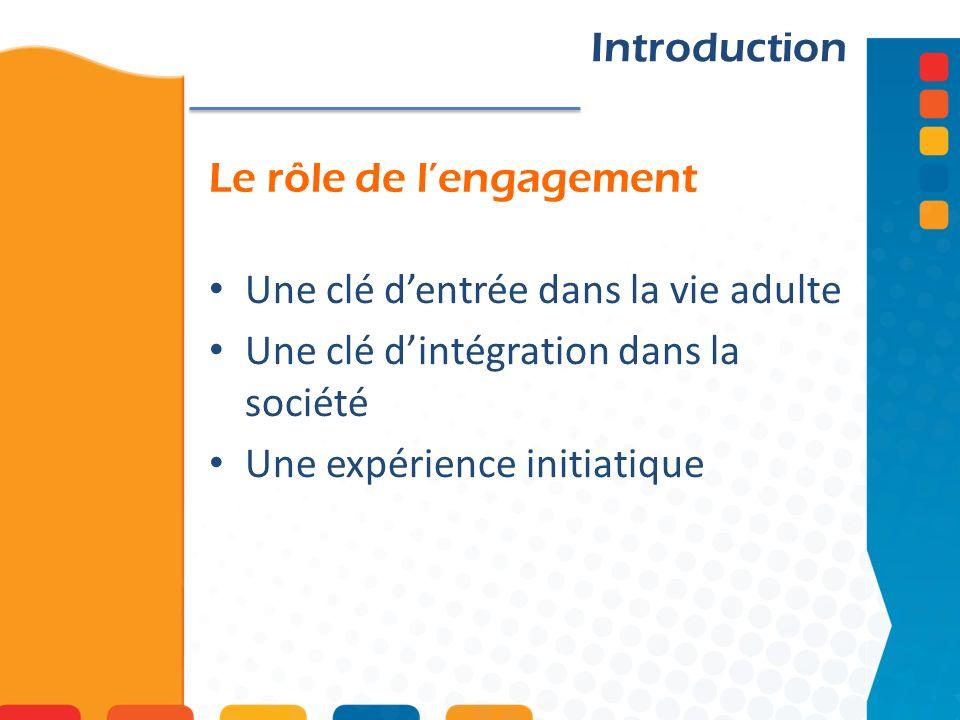 Le rôle de lengagement Introduction Une clé dentrée dans la vie adulte Une clé dintégration dans la société Une expérience initiatique