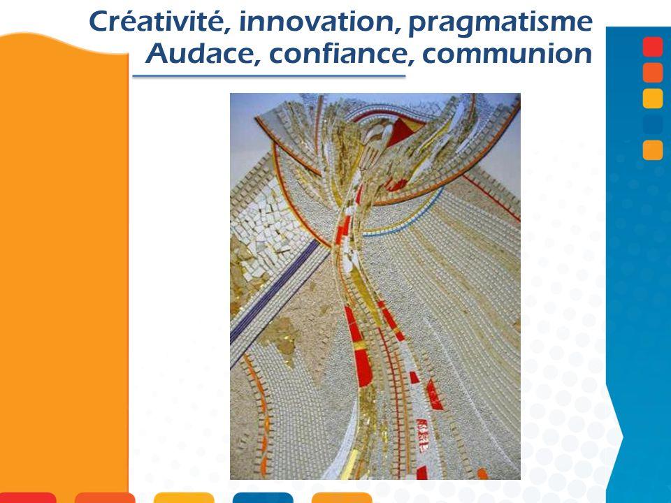 Créativité, innovation, pragmatisme Audace, confiance, communion