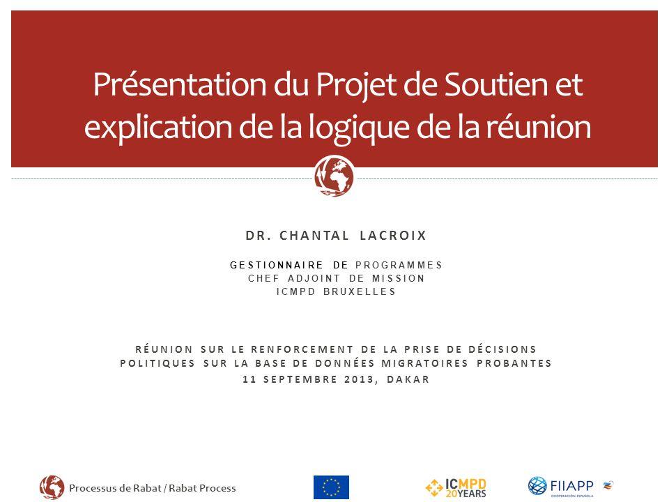 Processus de Rabat / Rabat Process DR. CHANTAL LACROIX GESTIONNAIRE DE PROGRAMMES CHEF ADJOINT DE MISSION ICMPD BRUXELLES RÉUNION SUR LE RENFORCEMENT
