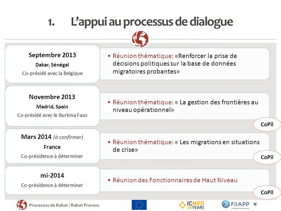 Processus de Rabat / Rabat Process 1.Lappui au processus de dialogue Réunion thématique: «Renforcer la prise de décisions politiques sur la base de do