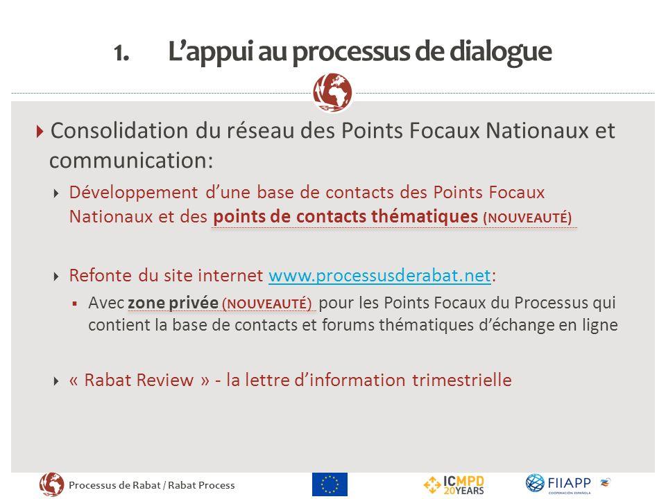 Processus de Rabat / Rabat Process 1.Lappui au processus de dialogue Consolidation du réseau des Points Focaux Nationaux et communication: Développeme