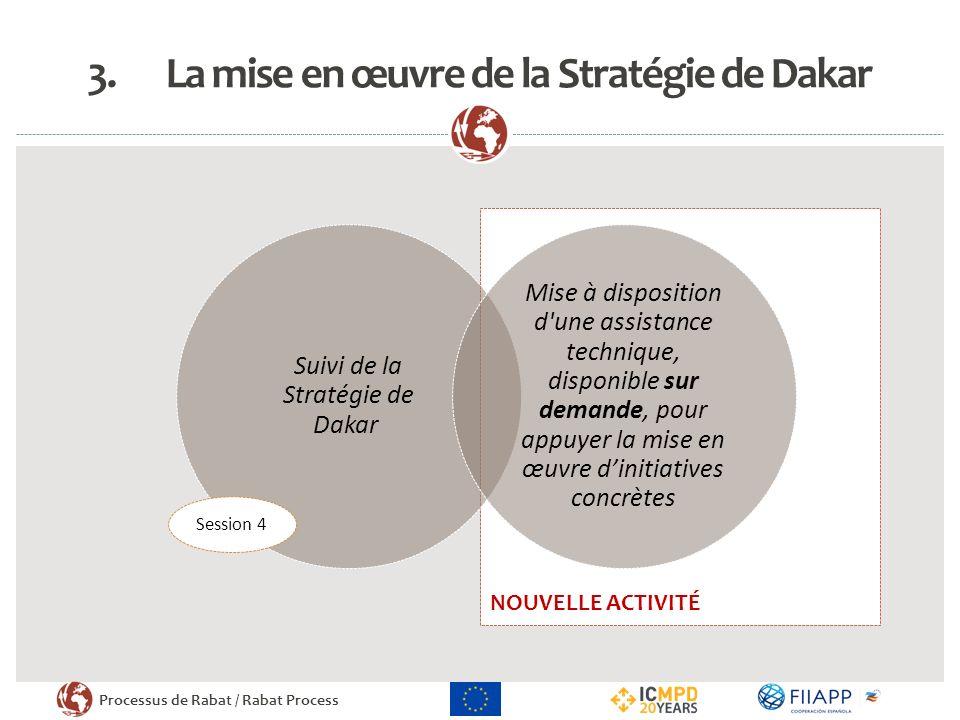 Processus de Rabat / Rabat Process NOUVELLE ACTIVITÉ 3.La mise en œuvre de la Stratégie de Dakar Suivi de la Stratégie de Dakar Mise à disposition d'u