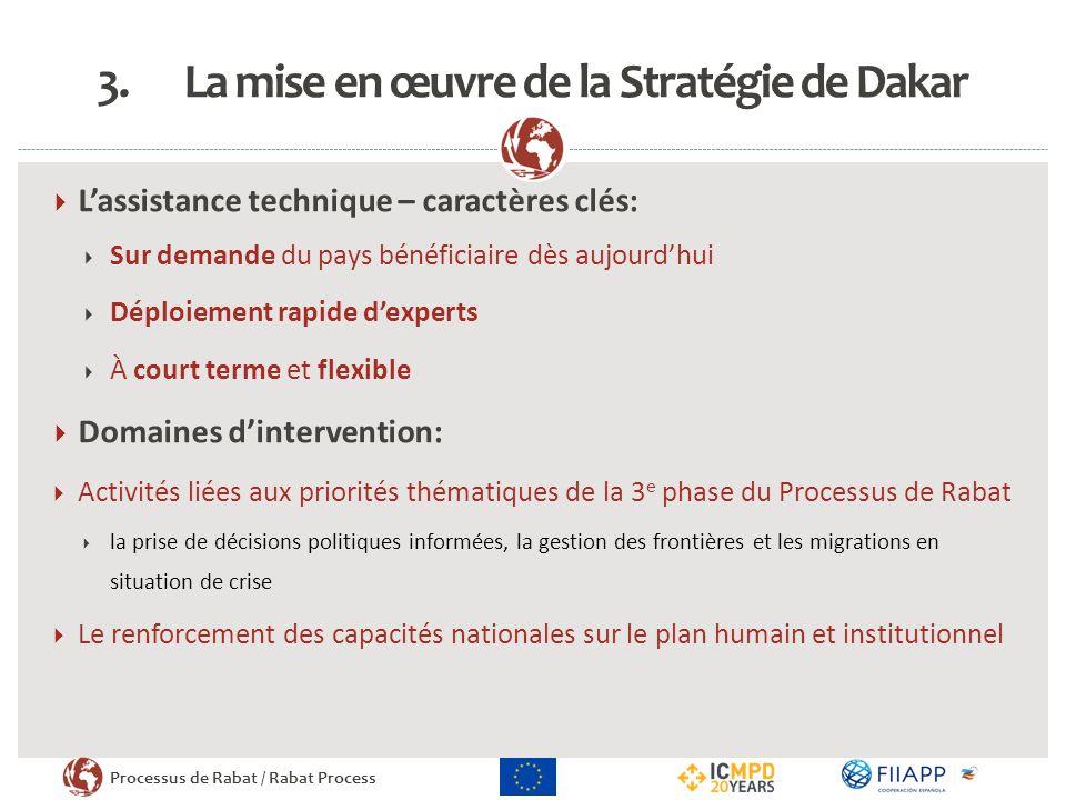 Processus de Rabat / Rabat Process 3.La mise en œuvre de la Stratégie de Dakar Lassistance technique – caractères clés: Sur demande du pays bénéficiai