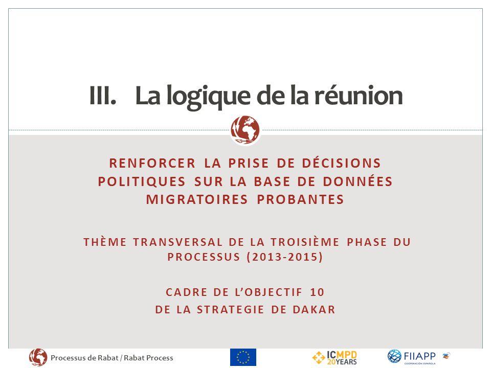 Processus de Rabat / Rabat Process RENFORCER LA PRISE DE DÉCISIONS POLITIQUES SUR LA BASE DE DONNÉES MIGRATOIRES PROBANTES THÈME TRANSVERSAL DE LA TRO