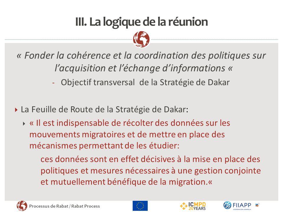 Processus de Rabat / Rabat Process III. La logique de la réunion « Fonder la cohérence et la coordination des politiques sur lacquisition et léchange