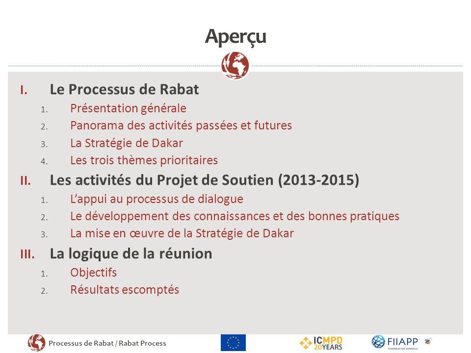 Processus de Rabat / Rabat Process Aperçu I. Le Processus de Rabat 1. Présentation générale 2. Panorama des activités passées et futures 3. La Stratég