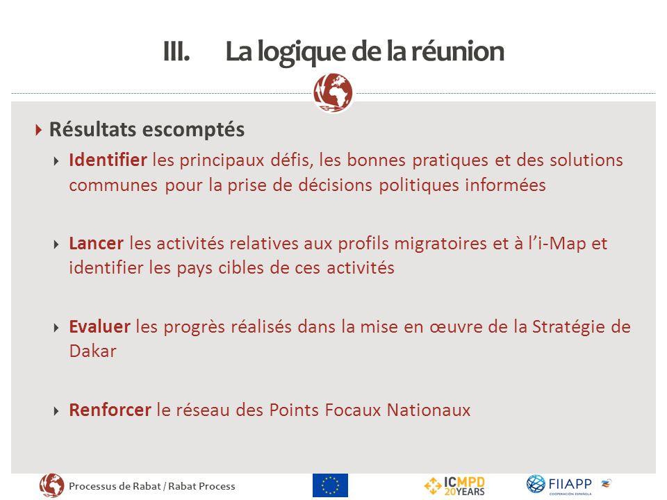 Processus de Rabat / Rabat Process III.La logique de la réunion Résultats escomptés Identifier les principaux défis, les bonnes pratiques et des solut