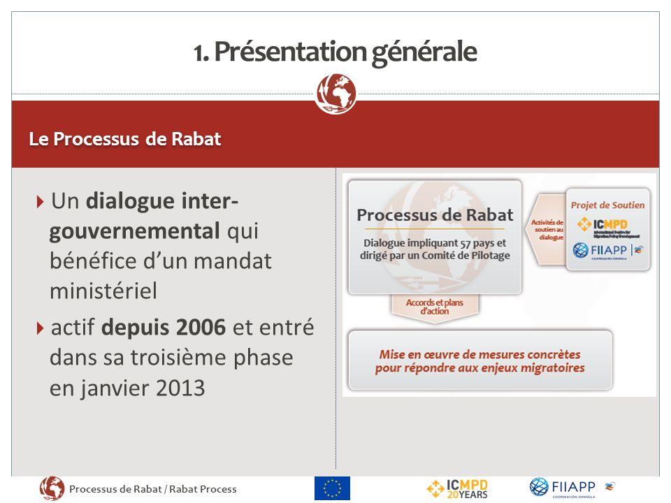 Processus de Rabat / Rabat Process Le Processus de Rabat Un dialogue inter- gouvernemental qui bénéfice dun mandat ministériel actif depuis 2006 et entré dans sa troisième phase en janvier 2013 1.