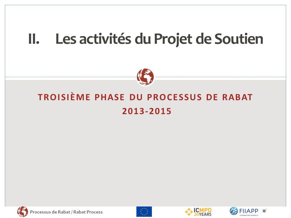 Processus de Rabat / Rabat Process NOUVELLES ACTIVITÉS II.Les activités du Projet de Soutien Les activités du Projet de Soutien sarticulent autour de trois domaines dactivité afin de pérenniser le dialogue tout en traduisant les discussions en activités opérationnelles 2.
