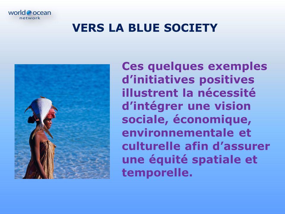 VERS LA BLUE SOCIETY Ces quelques exemples dinitiatives positives illustrent la nécessité dintégrer une vision sociale, économique, environnementale e