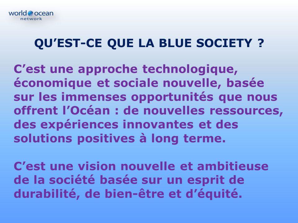 QUEST-CE QUE LA BLUE SOCIETY ? Cest une approche technologique, économique et sociale nouvelle, basée sur les immenses opportunités que nous offrent l