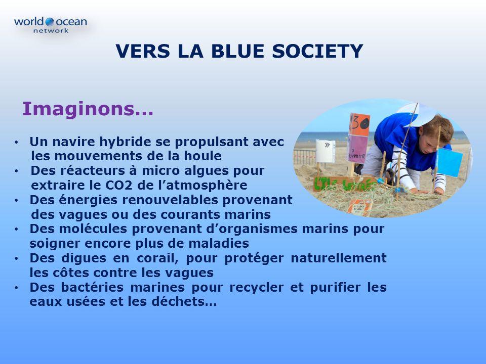 VERS LA BLUE SOCIETY Imaginons… Un navire hybride se propulsant avec les mouvements de la houle Des réacteurs à micro algues pour extraire le CO2 de l