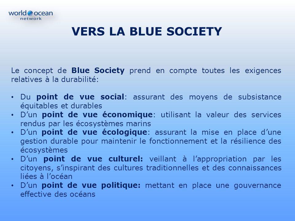 VERS LA BLUE SOCIETY Le concept de Blue Society prend en compte toutes les exigences relatives à la durabilité: Du point de vue social: assurant des m