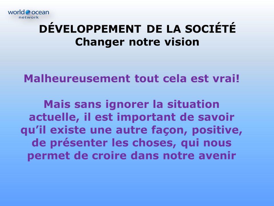 DÉVELOPPEMENT DE LA SOCIÉTÉ Changer notre vision