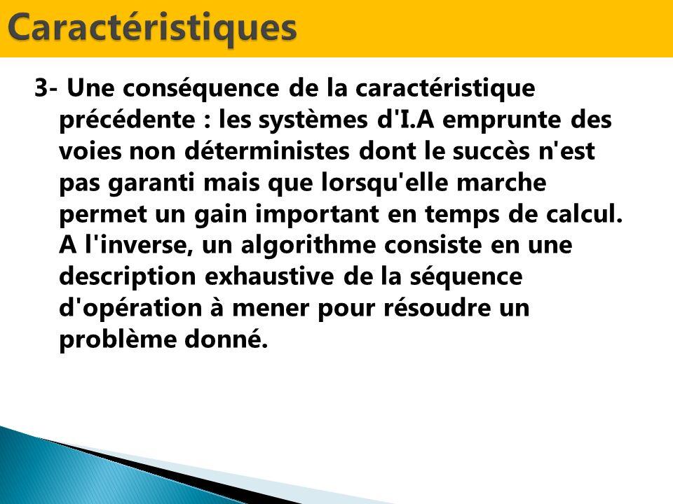 3- Une conséquence de la caractéristique précédente : les systèmes d I.A emprunte des voies non déterministes dont le succès n est pas garanti mais que lorsqu elle marche permet un gain important en temps de calcul.