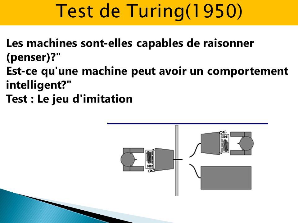 Les machines sont-elles capables de raisonner (penser)? Est-ce qu une machine peut avoir un comportement intelligent? Test : Le jeu d imitation Test de Turing(1950)