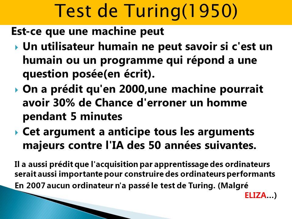 Est-ce que une machine peut Un utilisateur humain ne peut savoir si c'est un humain ou un programme qui répond a une question posée(en écrit). On a pr