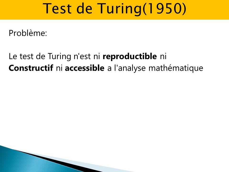 Problème: Le test de Turing n est ni reproductible ni Constructif ni accessible a l analyse mathématique Test de Turing(1950)