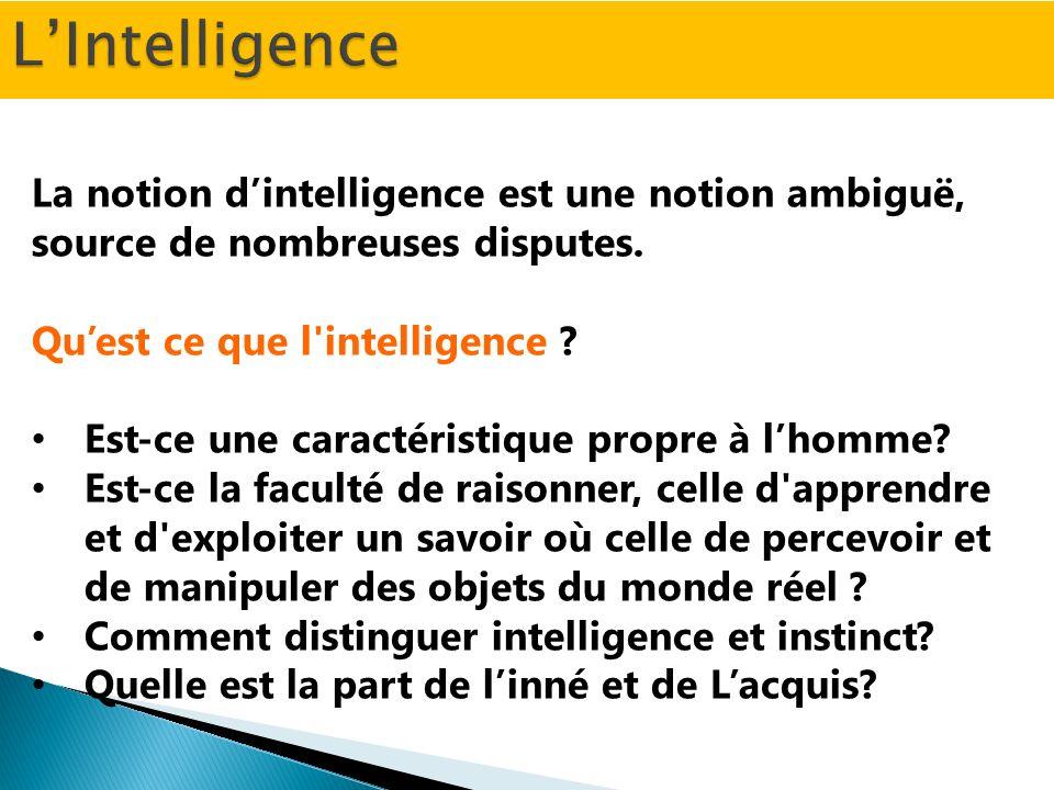 Intelligence vient du latin intellegere, dont le préfixe inter (entre), et le radical legere (lier) suggèrent essentiellement l aptitude à relier des éléments qui sans elle resteraient séparés.