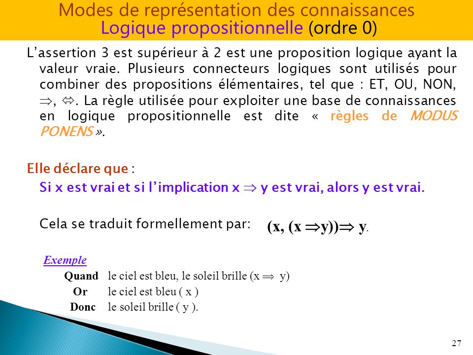 Lassertion 3 est supérieur à 2 est une proposition logique ayant la valeur vraie. Plusieurs connecteurs logiques sont utilisés pour combiner des propo