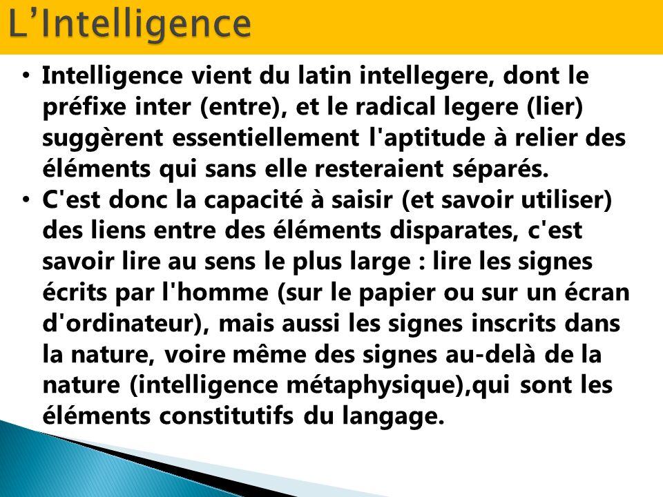 Intelligence vient du latin intellegere, dont le préfixe inter (entre), et le radical legere (lier) suggèrent essentiellement l'aptitude à relier des