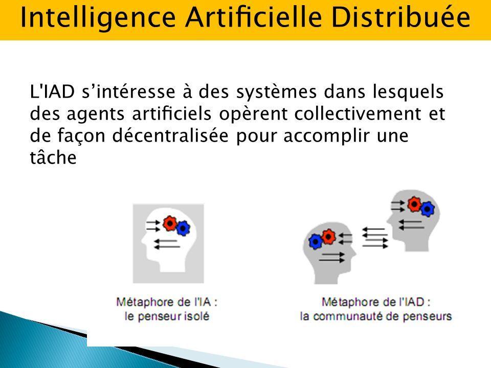 L IAD sintéresse à des systèmes dans lesquels des agents articiels opèrent collectivement et de façon décentralisée pour accomplir une tâche Intelligence Articielle Distribuée